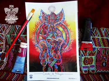 """Creador de Milagros"" Poster con firma de autor/ Poster signed by author Simulación de Canvas/Simulation Canvas 44 x 29 cm"