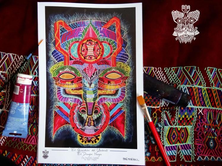 """""""El Guardián del Umbral: El Dragón Negro"""" Poster con firma de autor/ Poster signed by author Simulación de Canvas/Simulation Canvas 44 x 29 cm"""