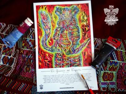 """""""Guerrero del Espíritu"""" Poster con firma de autor/ Poster signed by author Simulación de Canvas/Simulation Canvas 44 x 29 cm"""