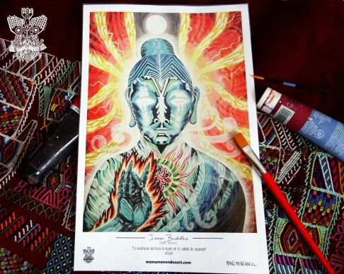 """Inner Buddha"" Poster con firma de autor/ Poster signed by author Simulación de Canvas/Simulation Canvas 44 x 29 cm"