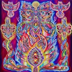 """""""Ometeotl"""" Acrílico sobre tela/ Acrylic on canvas 100 x 100 cm 2014"""