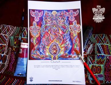 """""""Ometeotl"""" Poster con firma de autor/ Poster signed by author Simulación de Canvas/Simulation Canvas 44 x 29 cm"""