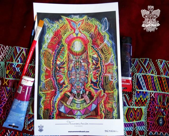 """""""Transmutación"""" Poster con firma de autor/ Poster signed by author Simulación de Canvas/Simulation Canvas 44 x 29 cm"""